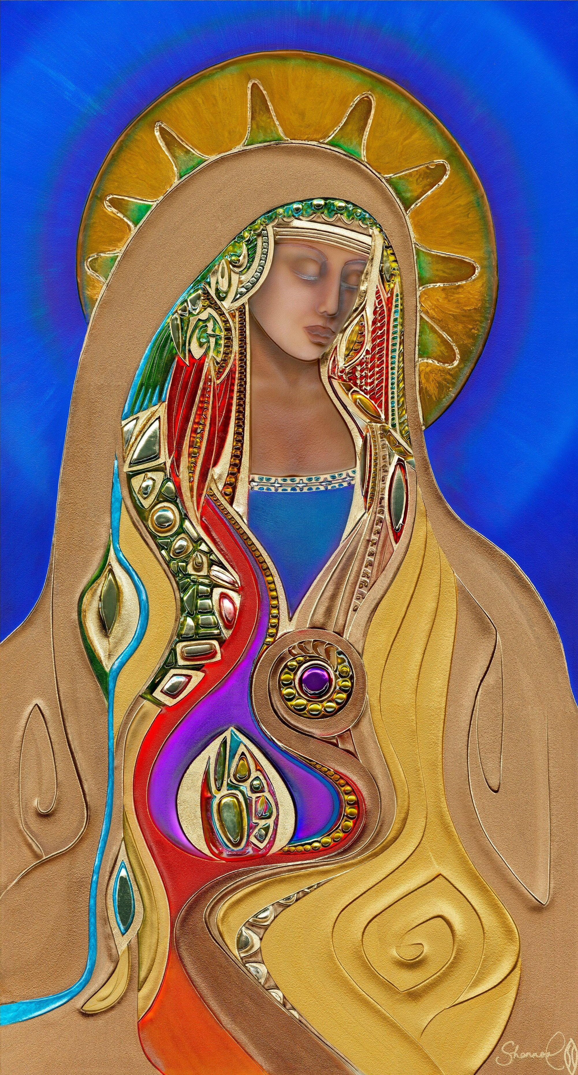 """santa maria - Dimensions: 26"""" x 48""""Carved 3/8"""" GlassGold Leaf, Poured Resins, and mixed media"""