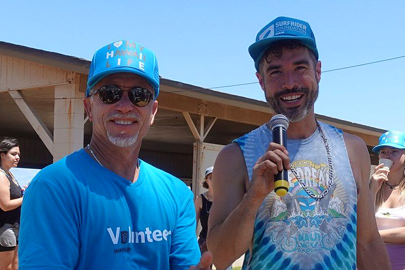 Dave Futch, REAL ESTATE AGENT OF HAWAII LIFE, with Christopher Robin of Surfrider Maui.