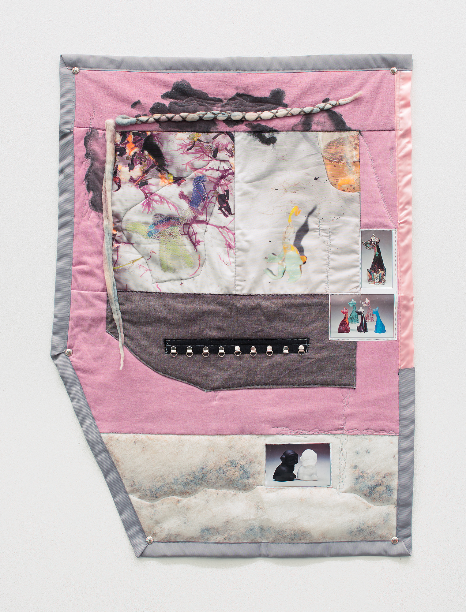 Erin Jane Nelson  RttP [Ruminant to the Palm] , 2015 Inkjet on cotton, thermodynamic jersey, various fabrics, felted wool, sheer garden liner, custom spice blend, offset photographs, ink, d-ring chain, nickel jewelry, tea balls, nylon and silk ribbon