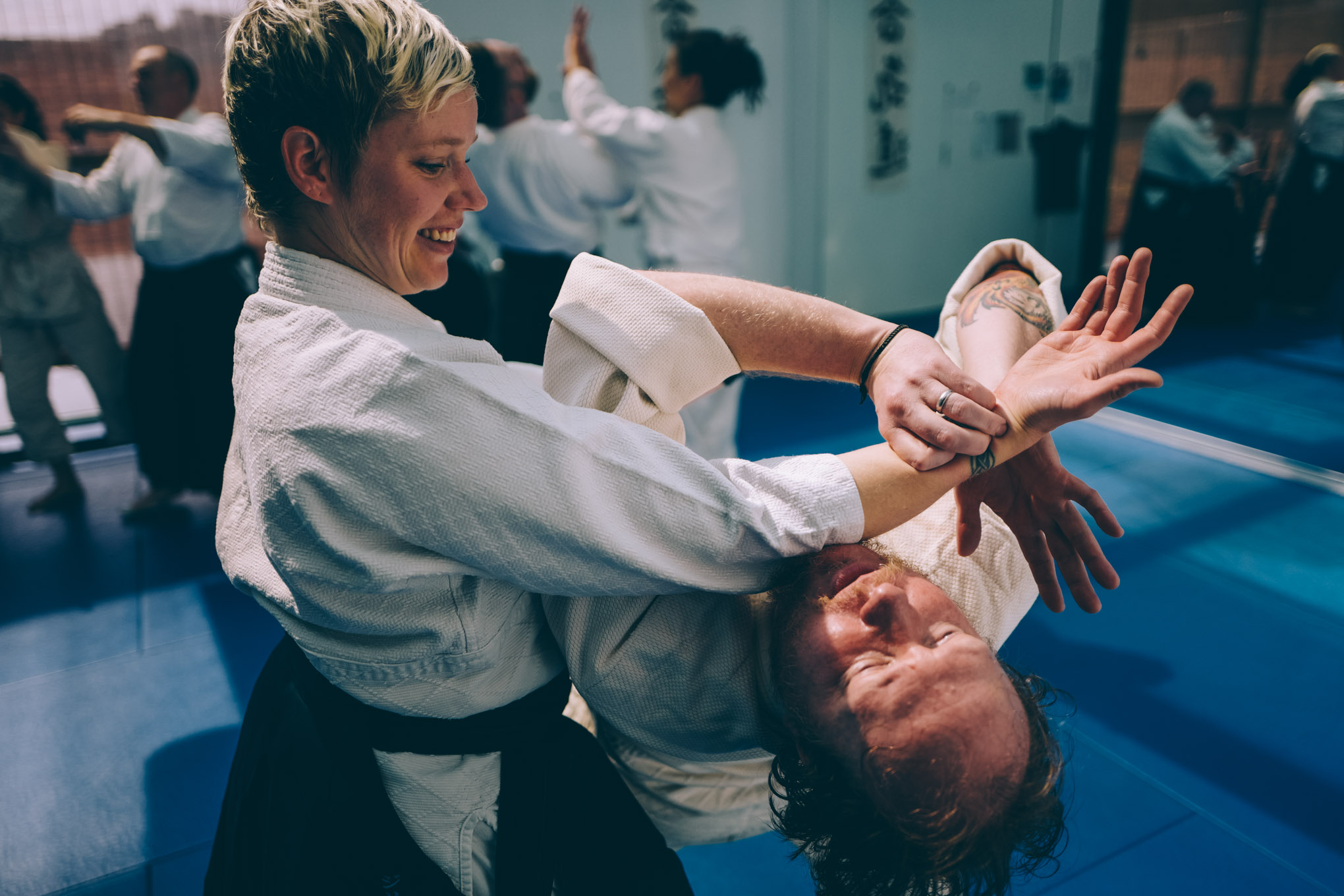 Gillian Macleod warms up in an Aikido class at Bushwick Dojo in Brooklyn
