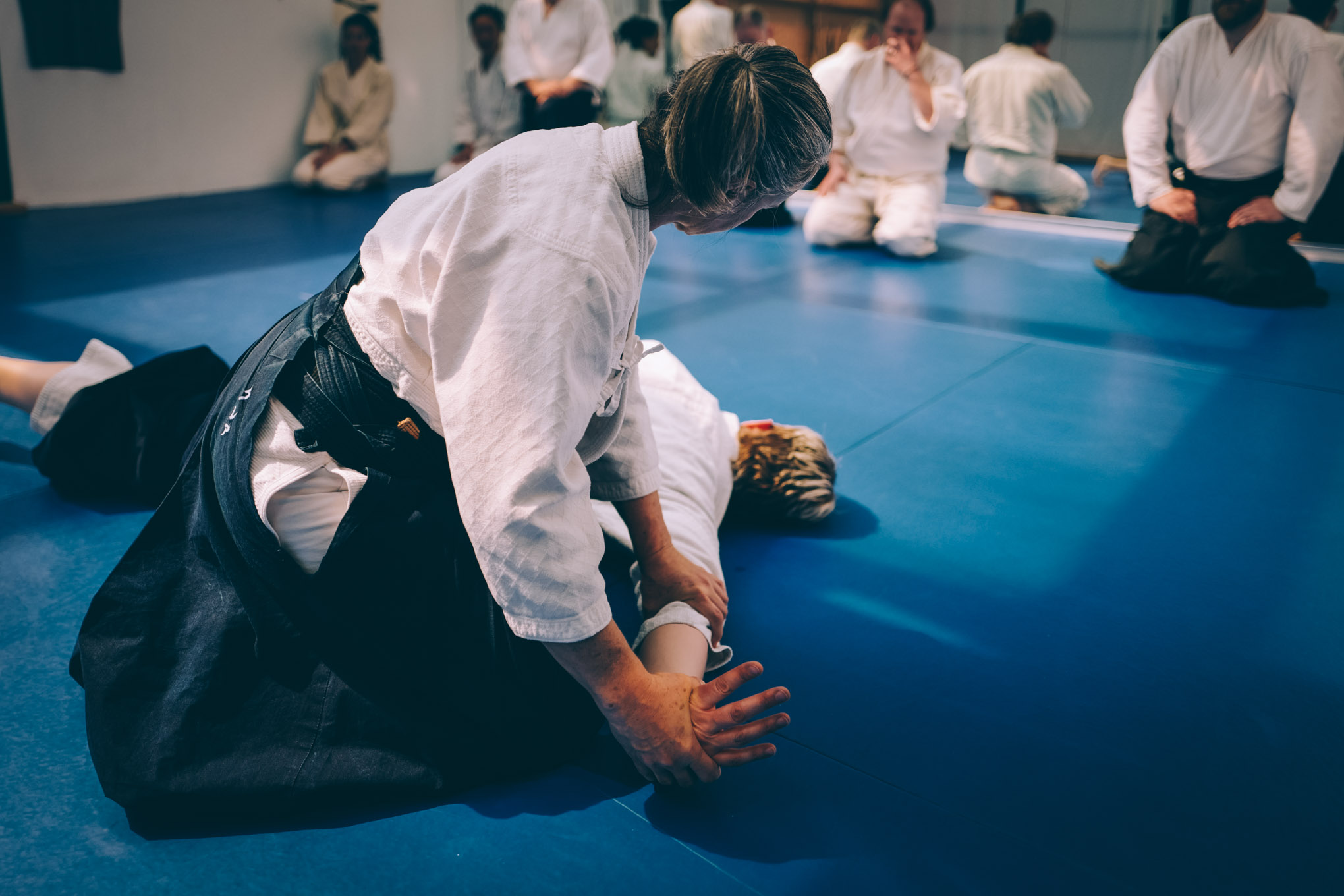 Claire Keller demonstrates the Aikido technique nikkyo at Bushwick Dojo in Brooklyn