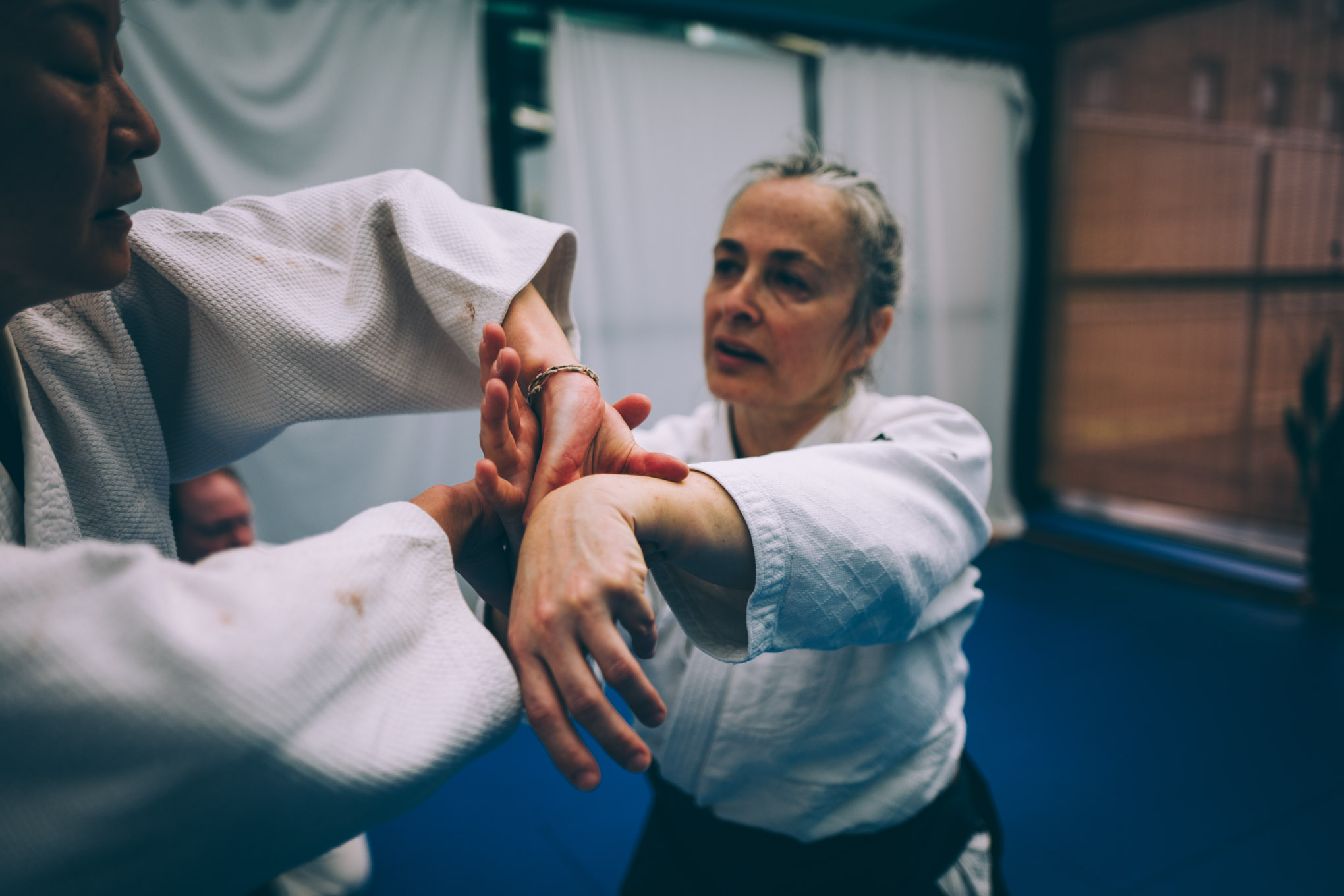 claire Keller teaches the Aikido technique sankyo at Bushwick Dojo in Brooklyn
