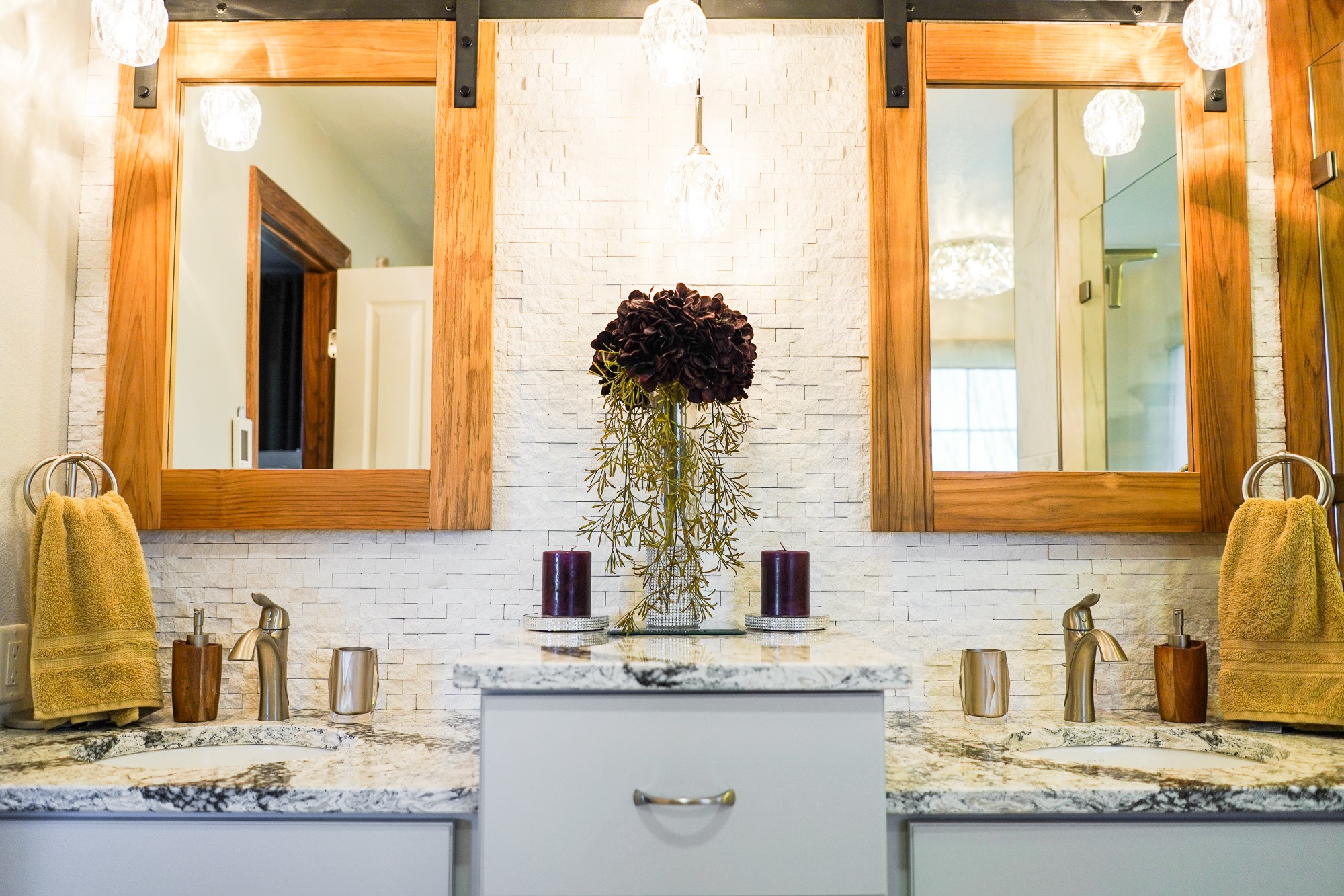 Teakwood Getaway - A warmth of rich color with Teakwood made this bathroom feel like you walked into an exotic getaway…