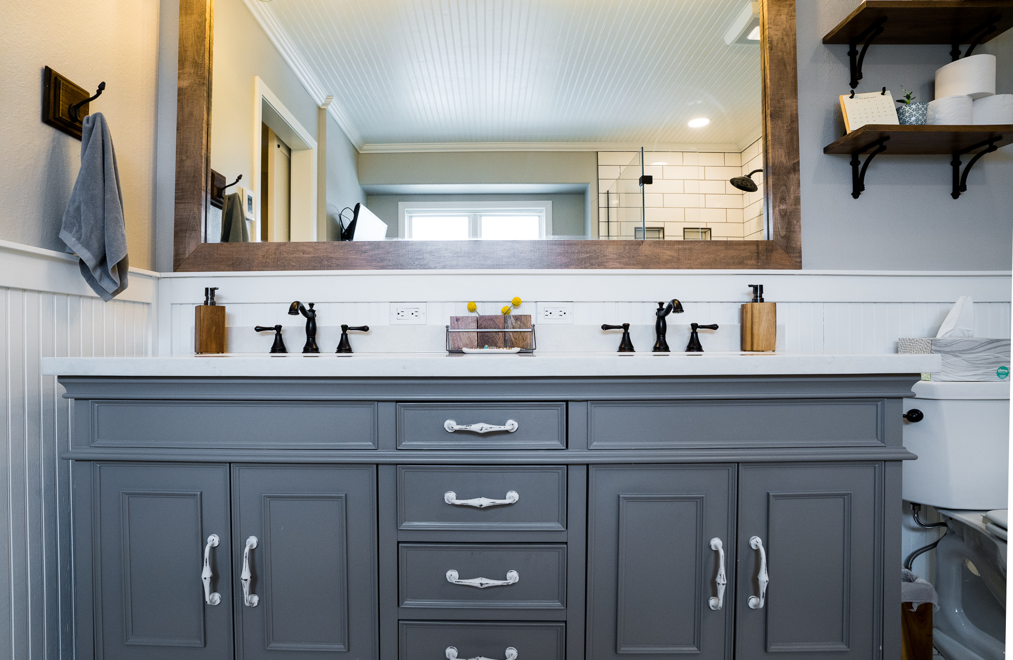 Contemporary Farmhouse - From a tight toilet and shower room to an open concept, functional design. This bathroom really came together at the end.
