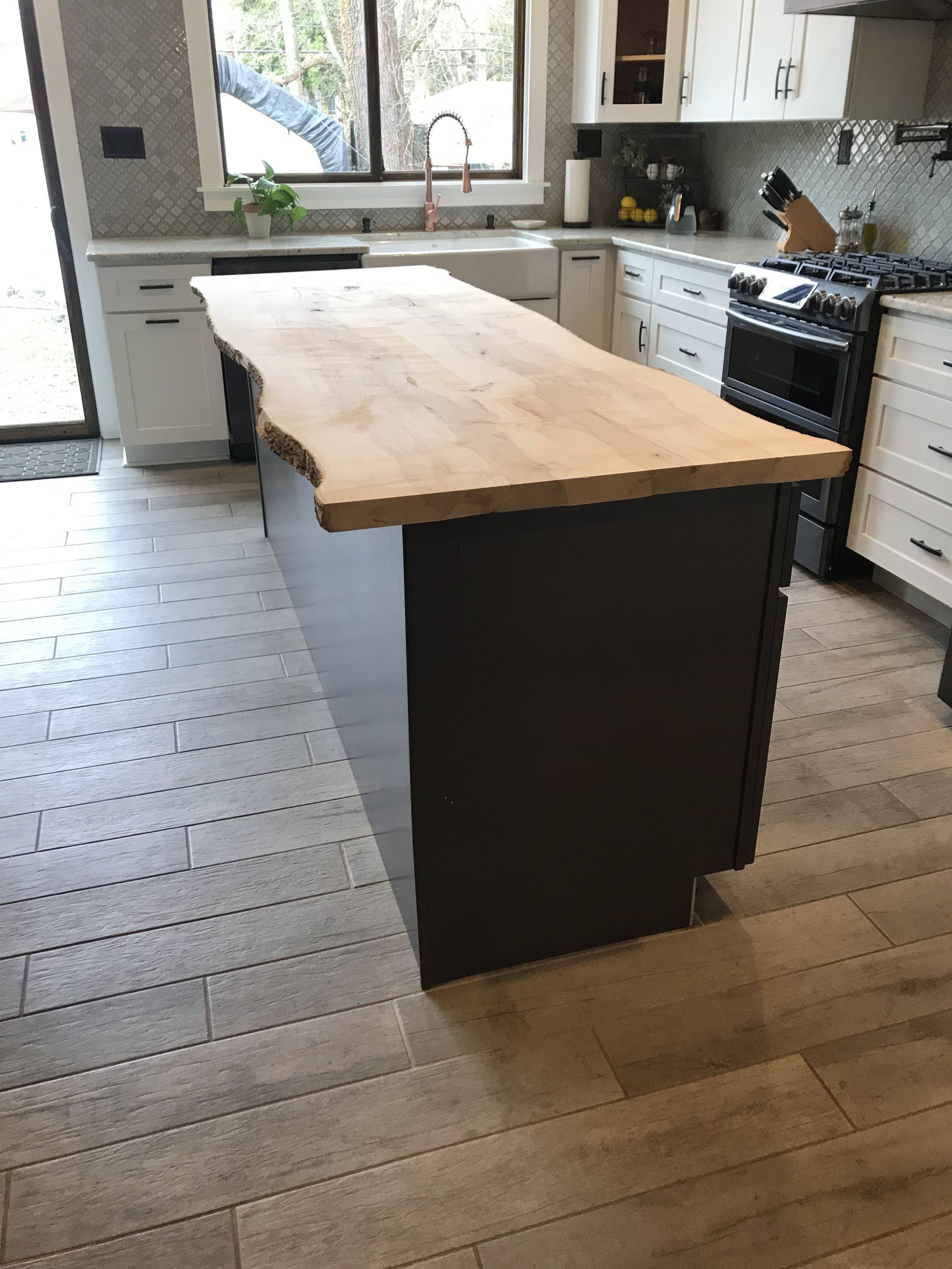 A custom kitchen counter.