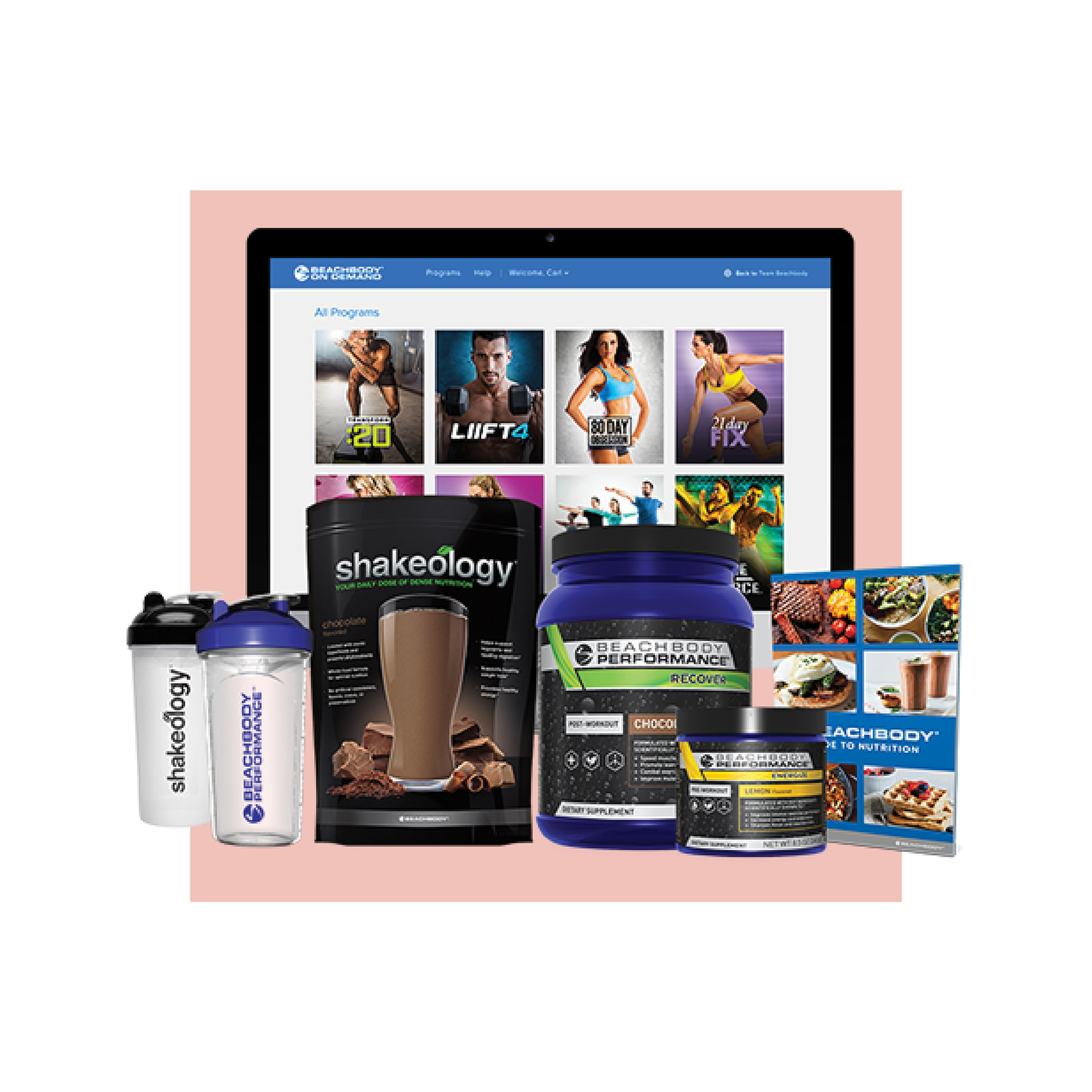 DELUXE CHALLENGE PACK -$220 - One year access to Beachbody on Demand30-day supply of Shakeology1 tub of Energize (all natural pre-workout)1 tub of Recover (post-workout muscle recovery)Nutrition/meal prep guide and recipesTwo shaker cupsOne-on-one coaching and accountability group
