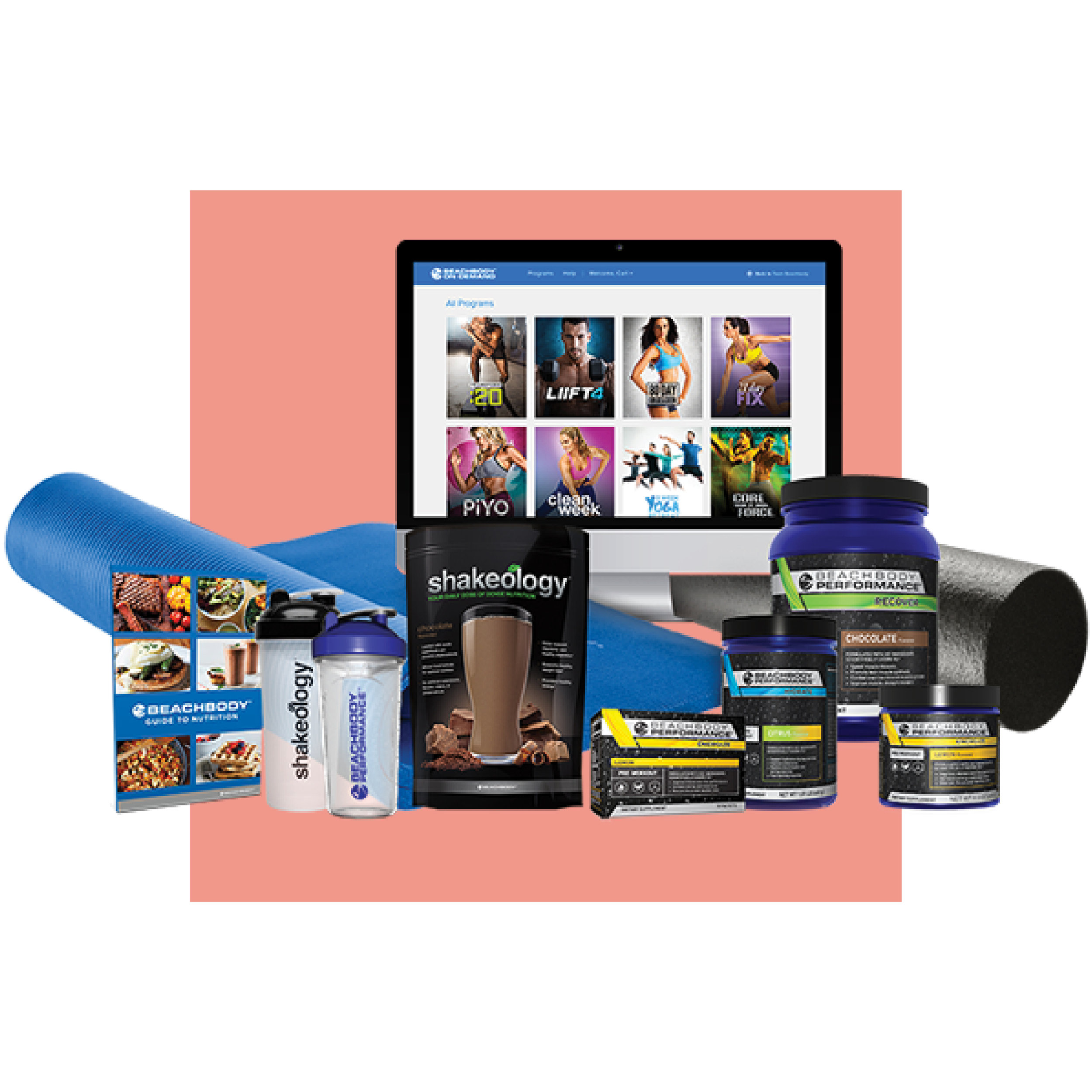 MEGA CHALLENGE PACK -$295 - One year access to Beachbody on Demand30-day supply of Shakeology1 tub of Energize (all natural pre-workout)1 tub of Recover (post-workout muscle recovery)1 tub of Hydrate (electolytes for during workouts)Nutrition/meal prep guide and recipesTwo shaker cupsOne-on-one coaching and accountability groupExercise mat and foam roller10 count of Energize packets*Plus a free box of protein bars from me!