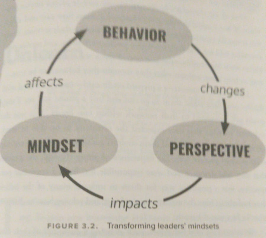 A circle of arrows leading from one word bubble to another with actions on the arrows. The word bubbles are Behavior, Perspective and Mindset. Behavior changes Perspective which impacts Mindset, which affects Behavior.