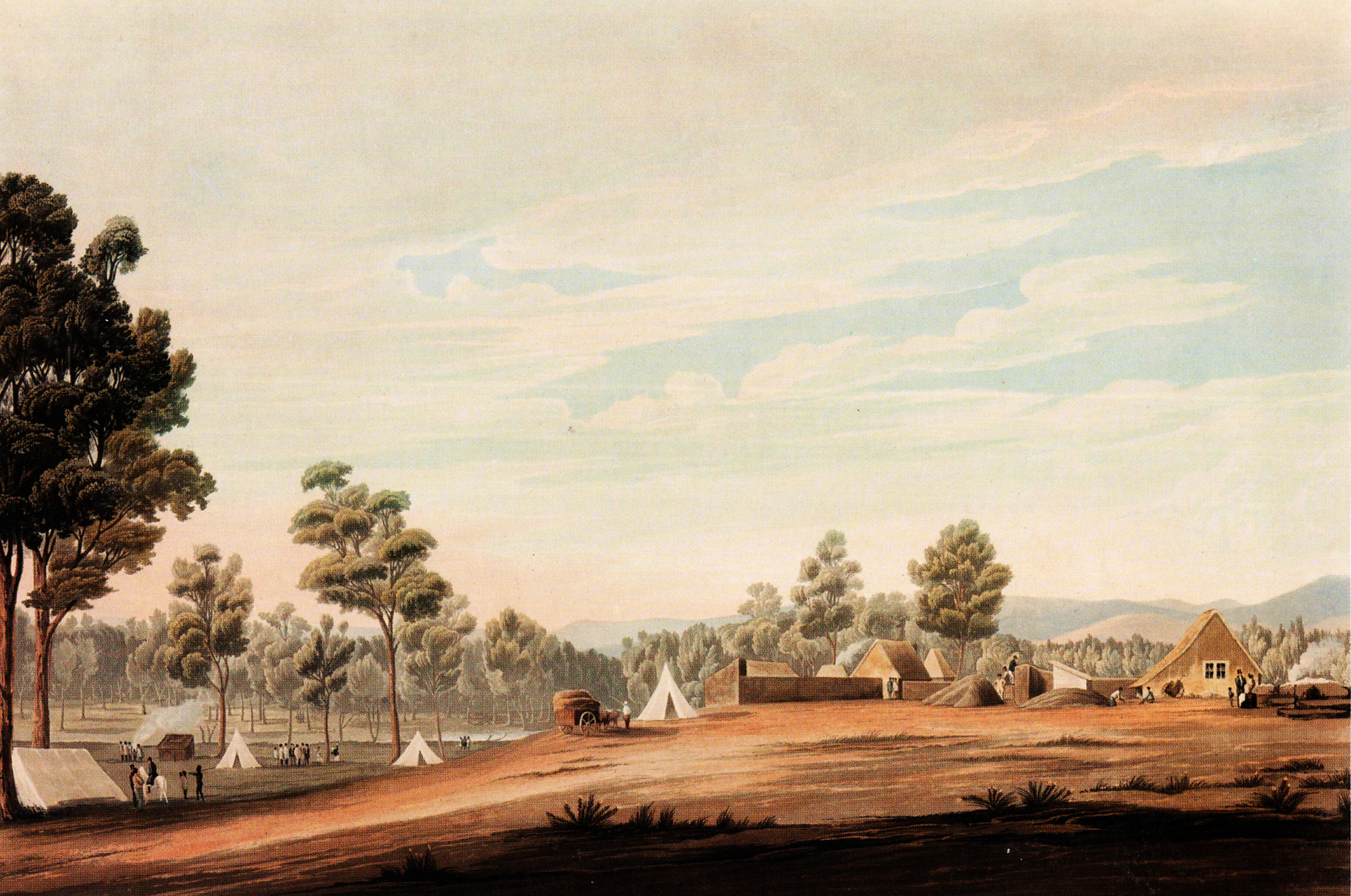 Robert Havell, engraver, Britain, 1793-1878, A view of the country and the temporary erections near the site for the proposed town of Adelaide in South Australia, 1837/38, published by Smith, Elder & Co., London, aquatint, hand-coloured with watercolour on paper, 36.8 x 54.5 cm (image); South Australian Government Grant 1973. Art Gallery of South Australia, Adelaide.