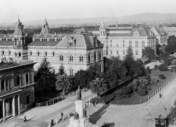North Terrace, Adelaide, 1922. North Terrace, Adelaide showing the cultural precinct, left to right: South Australian Institute, Public Library, Museum, Art Gallery, University of Adelaide (unseen), Exhibition Building and the School of Mines. State Library of South Australia, PRG 280/1/30/110. Part of Searcy Collection.