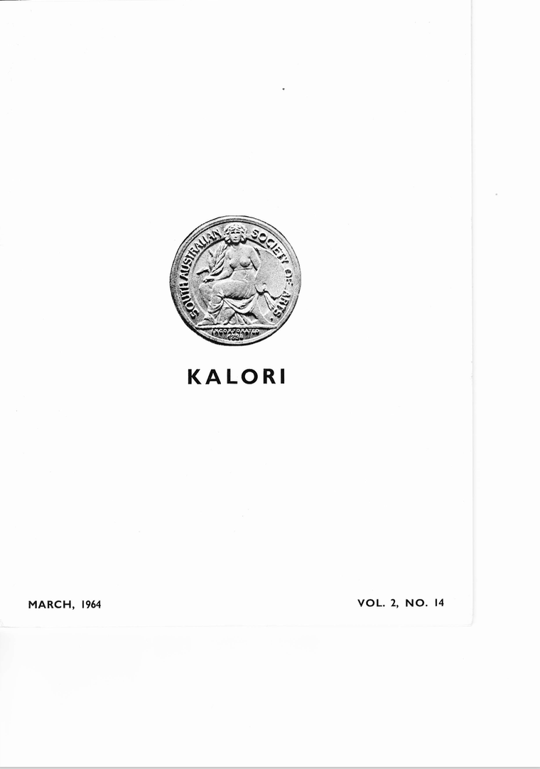 KALORI | Volume 2 No 14 1964 | Cover features South Australian Society of Arts Medal: Incorporated 1834
