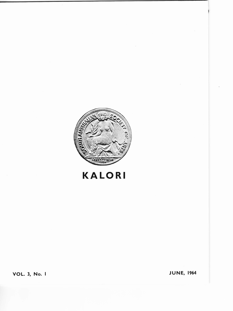 KALORI | Volume 3 No 1 1964 | Cover features South Australian Society of Arts Medal: Incorporated 1894