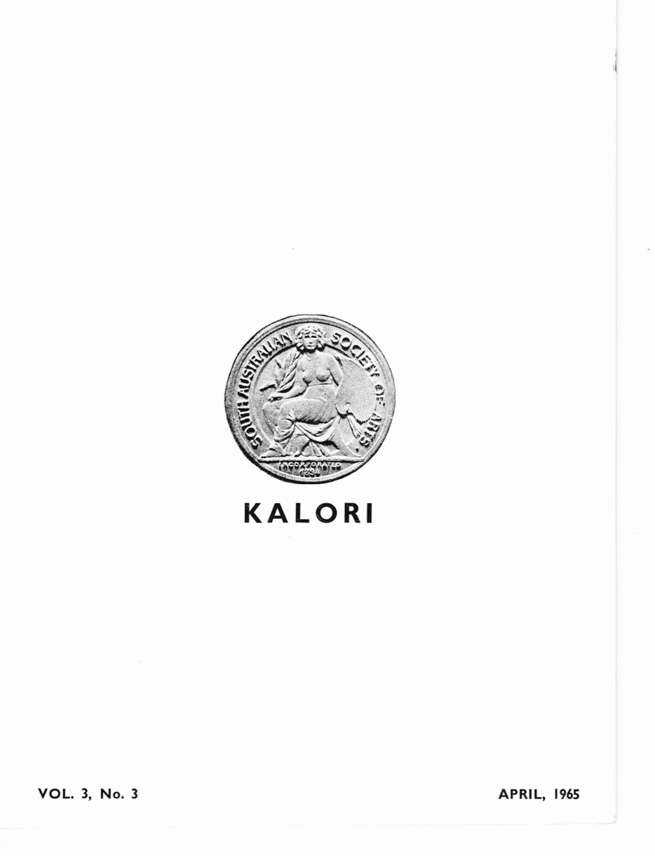 KALORI | Volume 3 No 2 1965 | Cover features South Australian Society of Arts Medal: Incorporated 1894