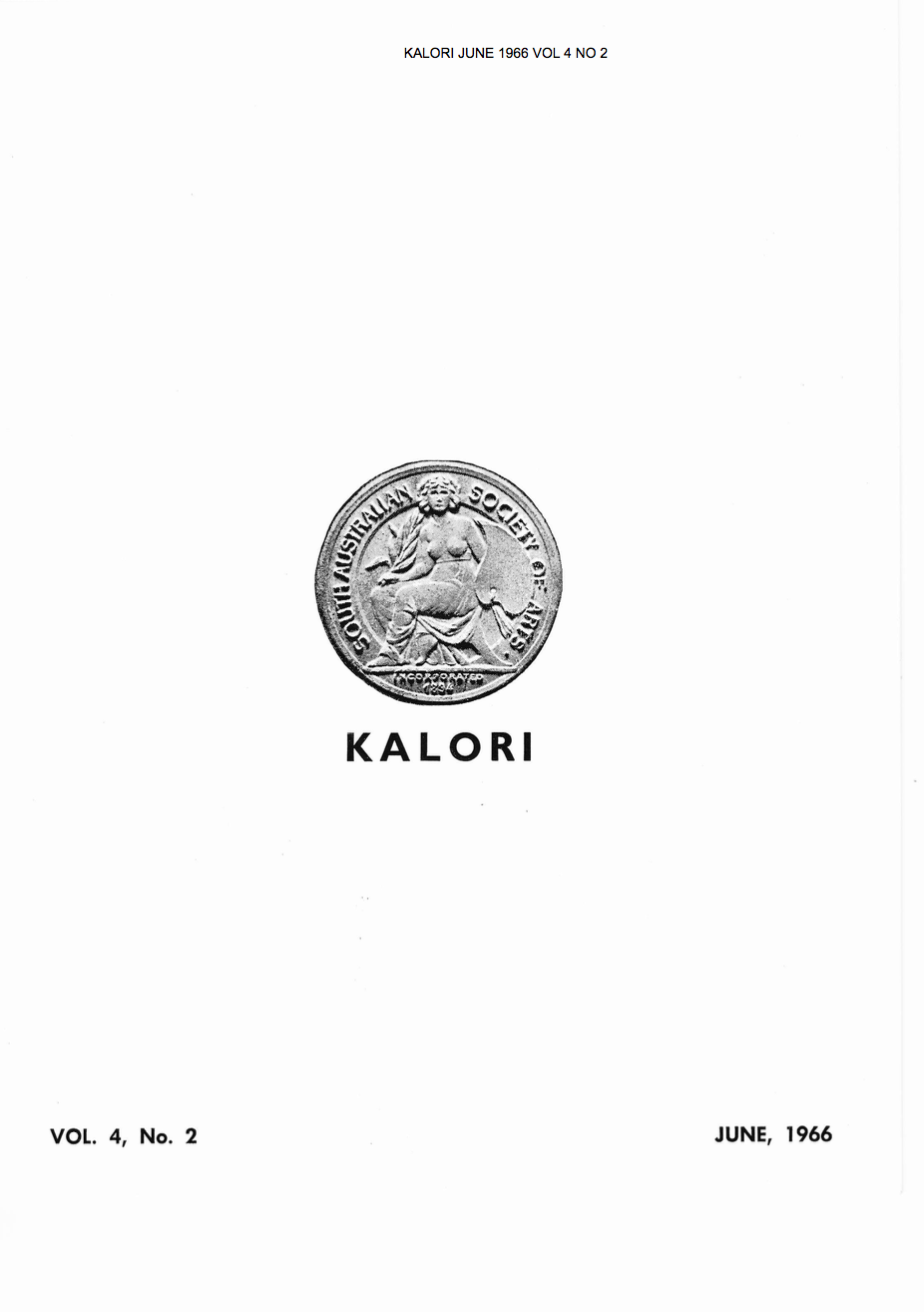 KALORI | Volume 4 No 2 1966  |  Cover features South Australian Society of Arts Medal: Incorporated 1894