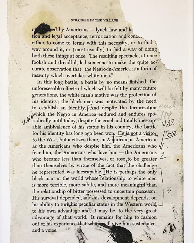 "Glenn Ligon's imaging of James Baldwin's ""Stranger in the Village"" witnesses to the thousands of missing Black American memories from America's public records. A review of the work is on The Blk Halos Journal (link in bio). ⠀⠀ Ligon's exhibit is at the Marciano Art Foundation until May 12th. @marcianoartfoundation"