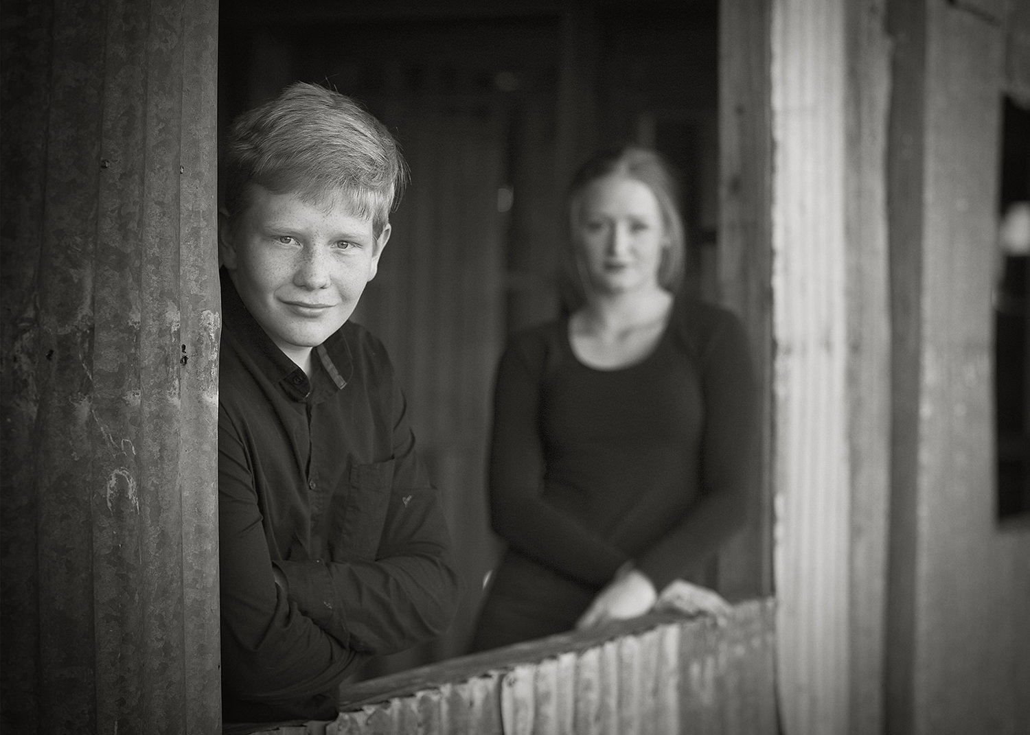 brother and sister portraits-family portraits-black and white portraits-portrait composition