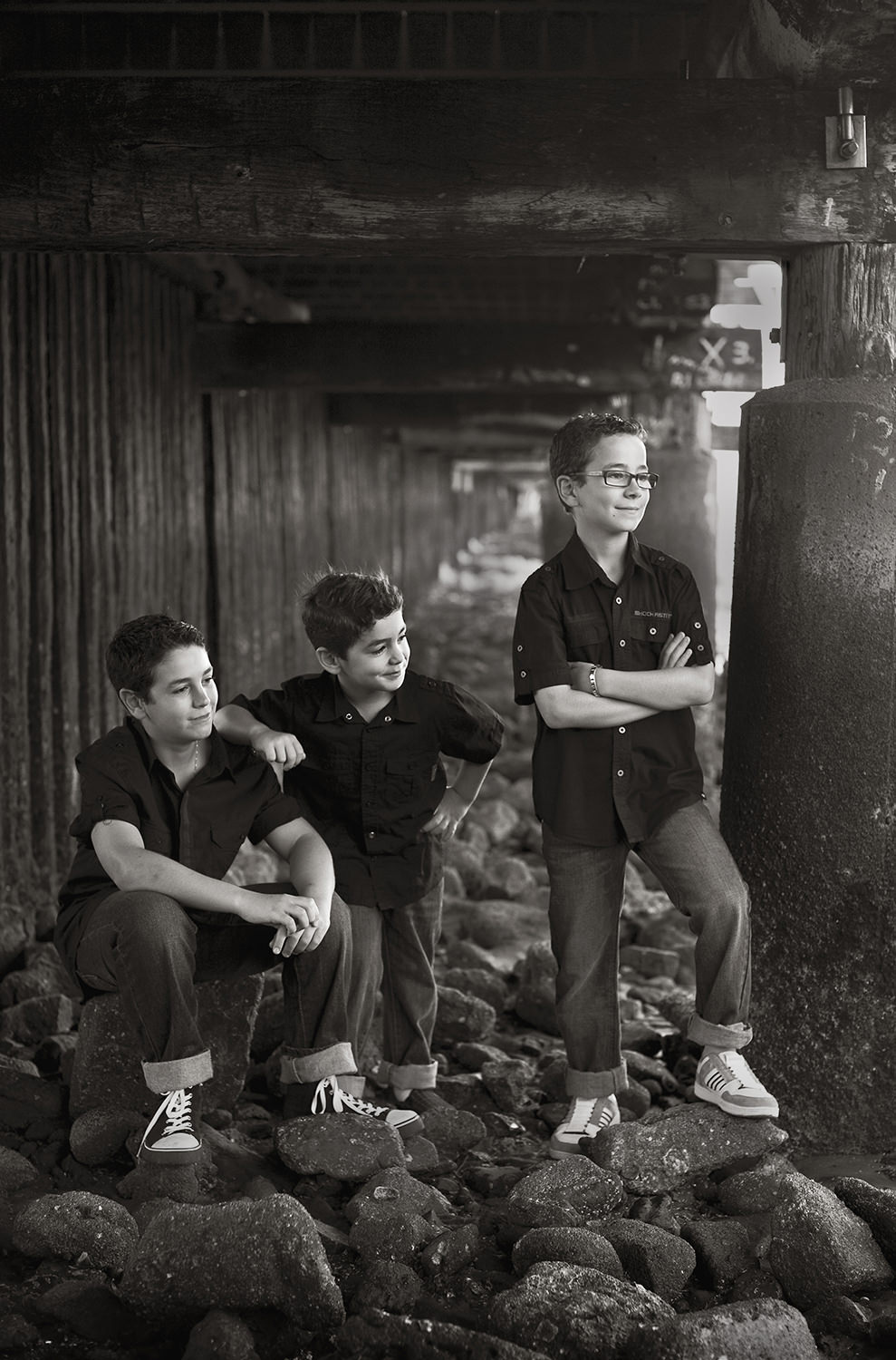 shorncliffe jetty-black and white portraits- brothers portraits- boys at beach-low key portrait