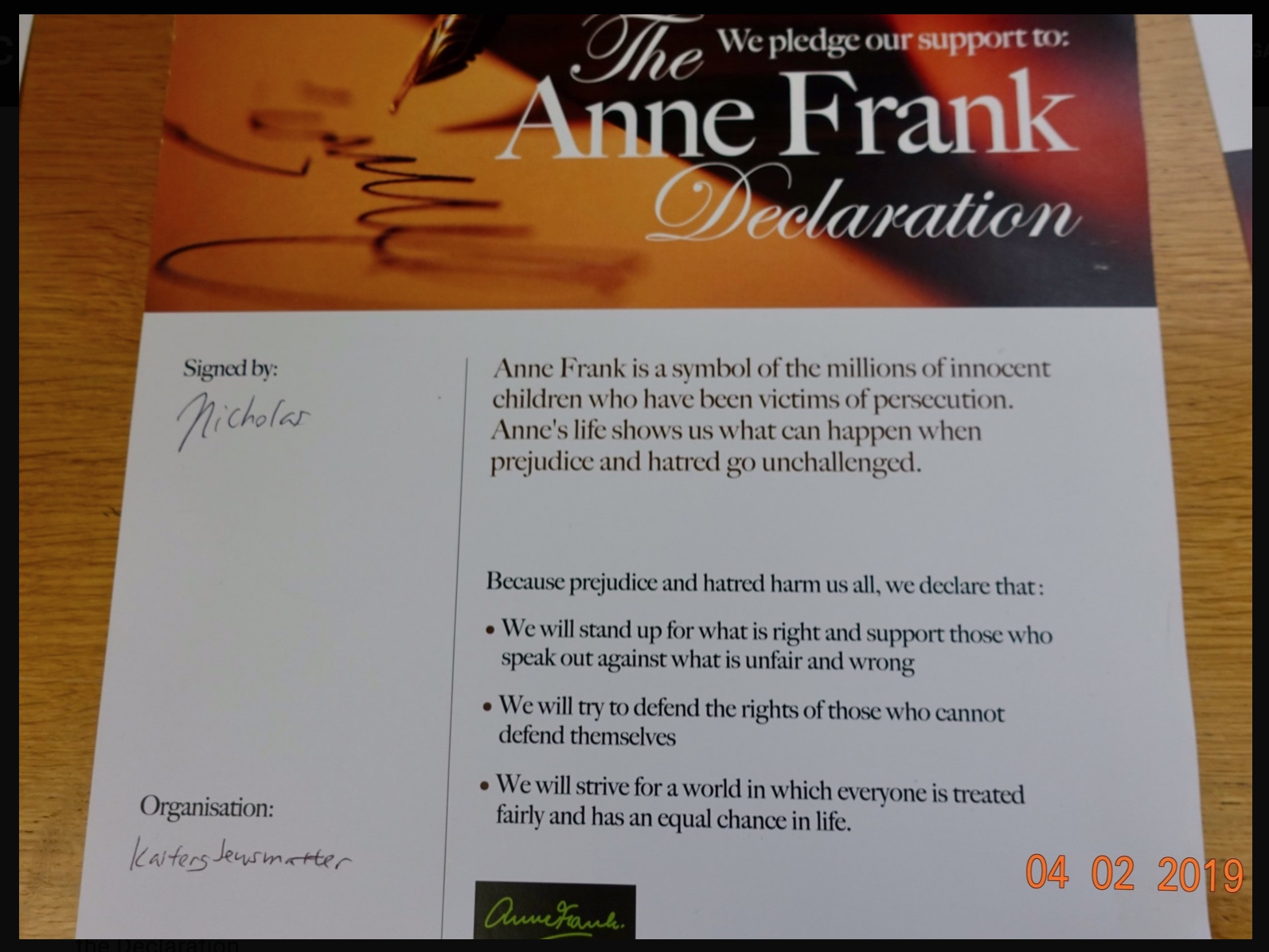 Official Signatory of the Anne Frank Declaration