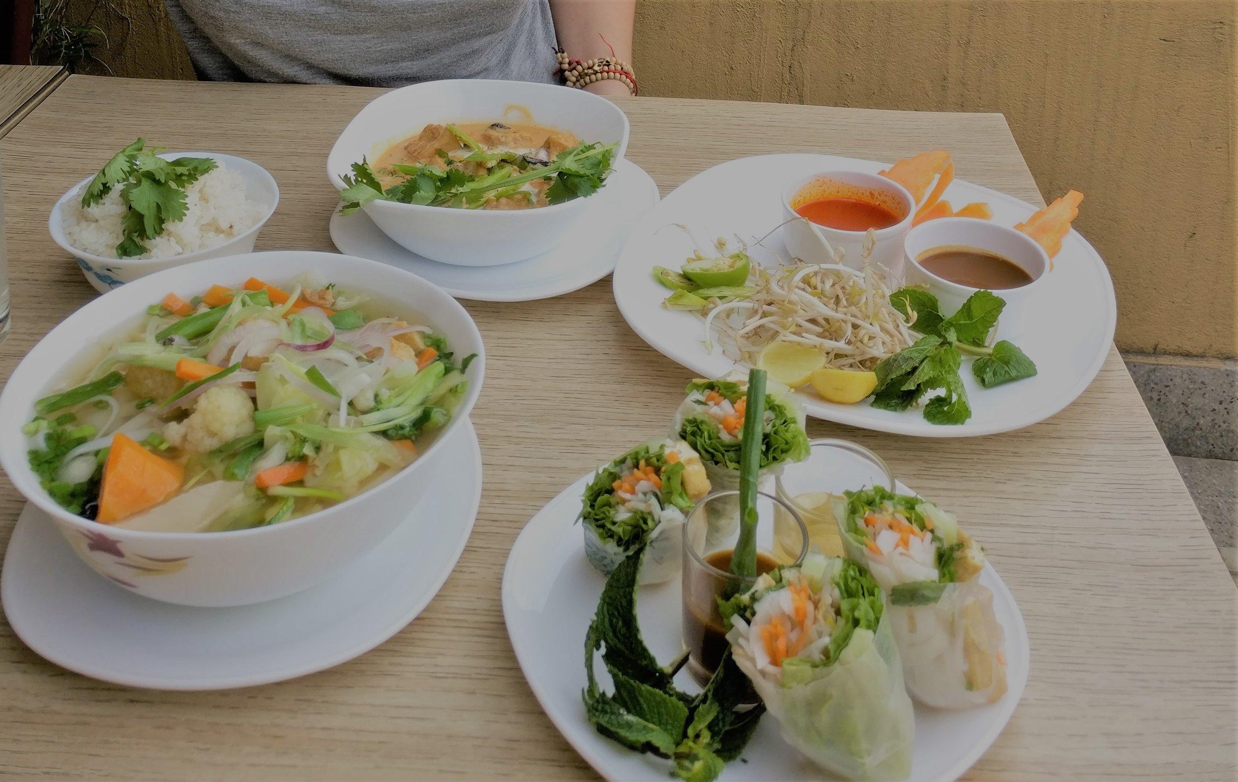 Yummy veggie spread at Pho 99, Boudhanath