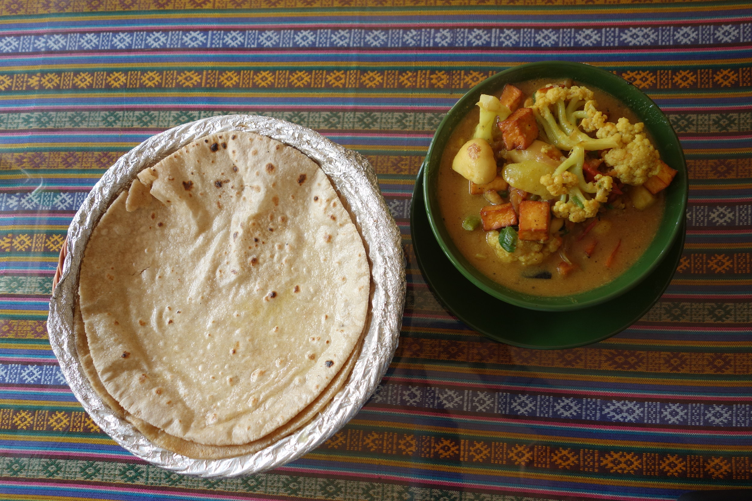 Equally yummy (and much cheaper) veggie curry and butter roti in Unique Restaurant, Pharping