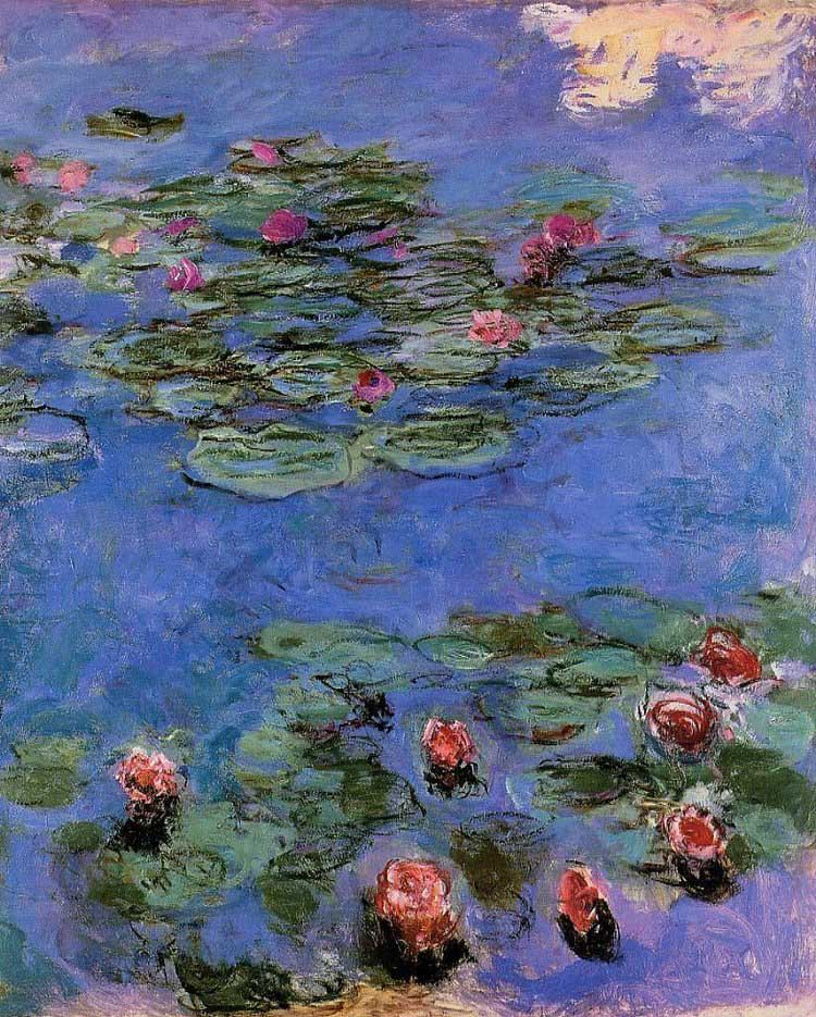 "An art site's reproduction of Claude Monet's Red Water Lilies. Monet's works have realized prices of over 20 million dollars at auction. This is listed at under $200 in a small size. Is it really a ""bargain"", though? Perhaps a placeholder? With the investment of framing; however, I would consider a local art source."