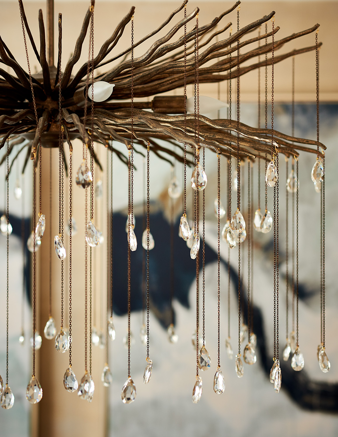 Chandelier with crystals by Currey and Company