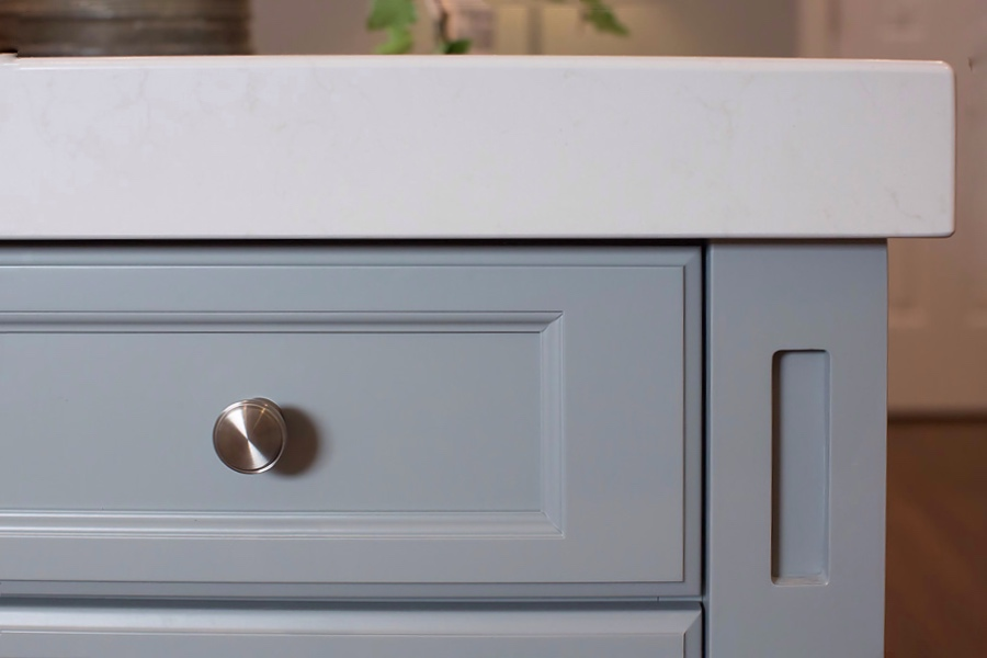 Quartz counter on blue island detail