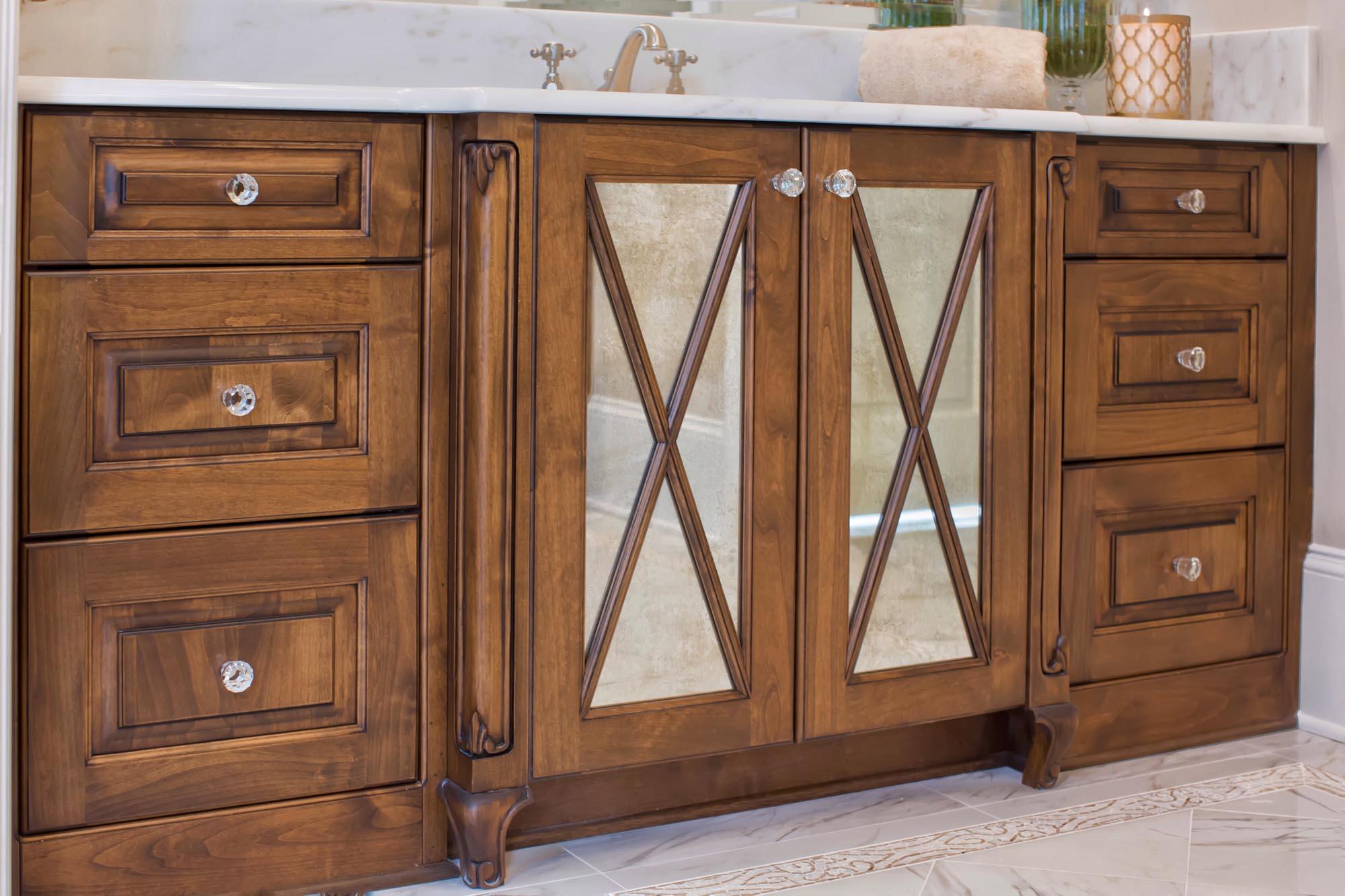 Alderwood vanity with mirrored doors for master bathroom