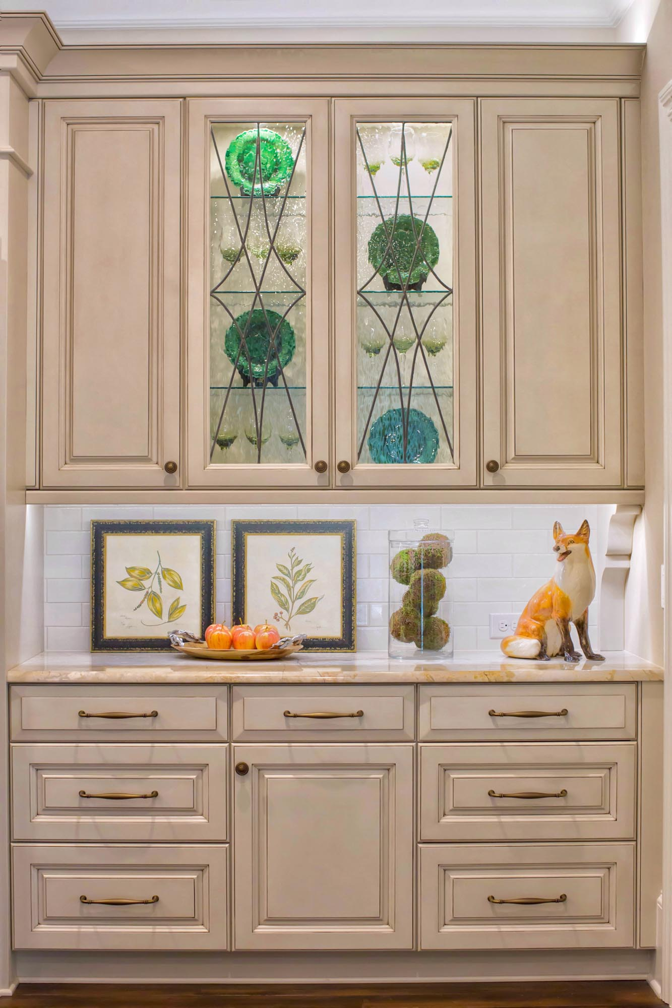 Elegant kitchen cabinet with glass doors Union County NC