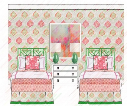 Modern Bedroom interior sketches with two single beds