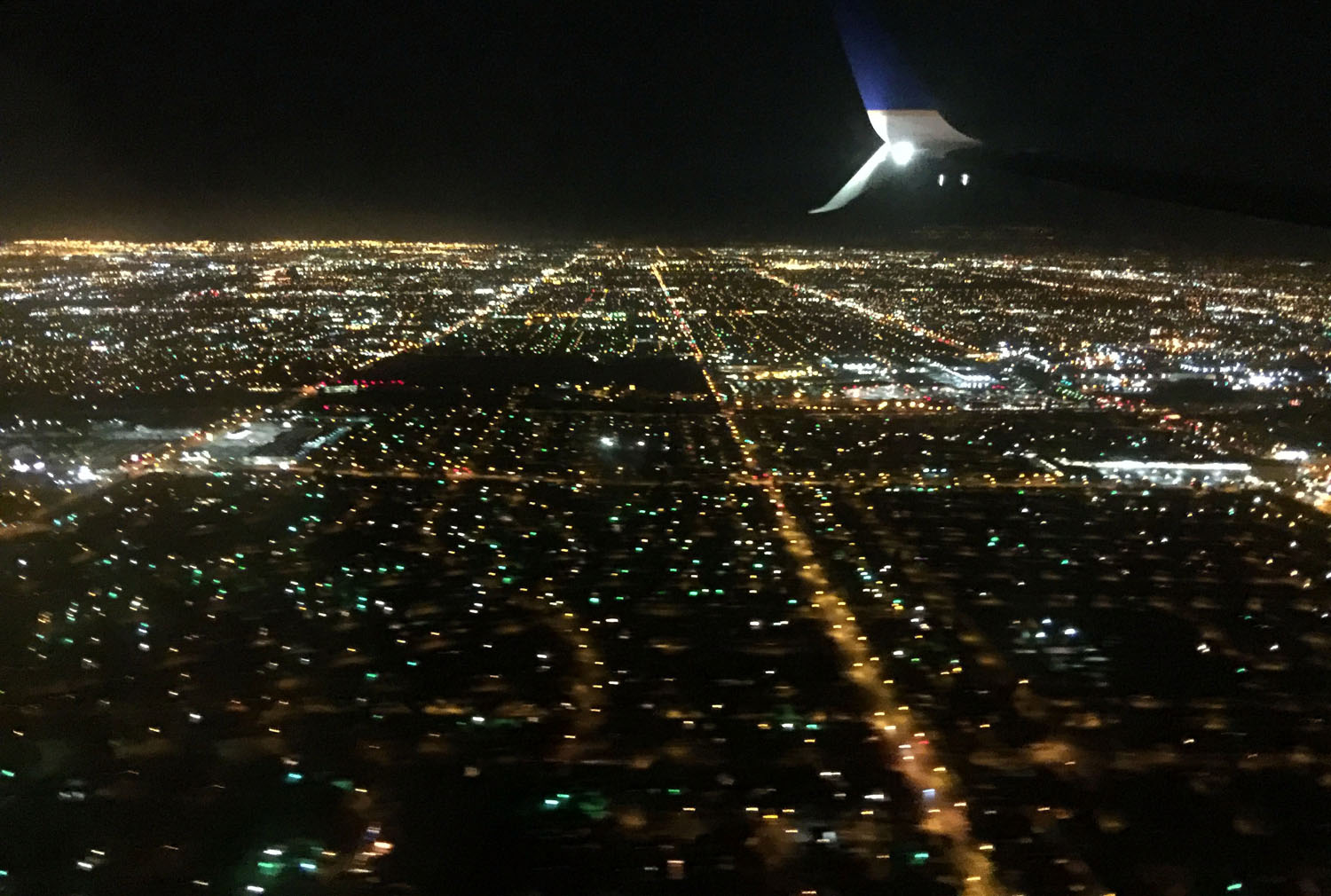 Las Vegas city lights via our airplane window.