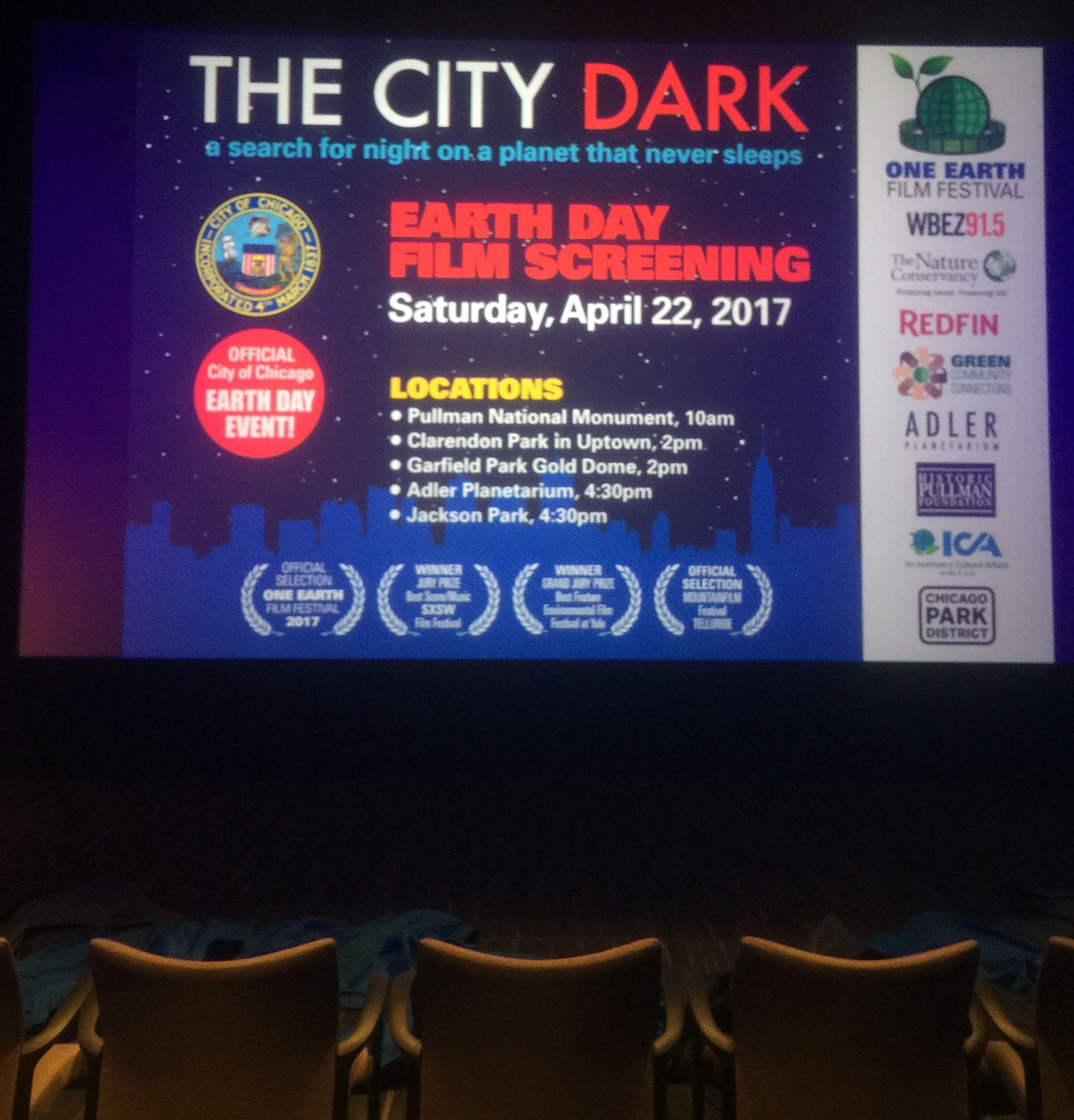 Screening at One Earth Film Fest.