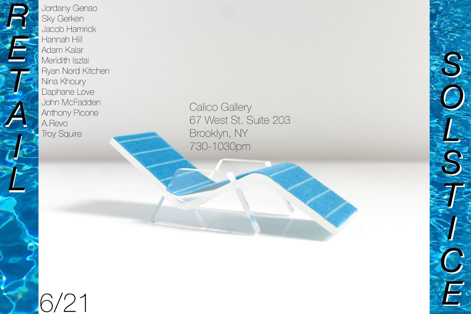 Flier for  Retail Solstice  Pop-Up Show at Calico Gallery