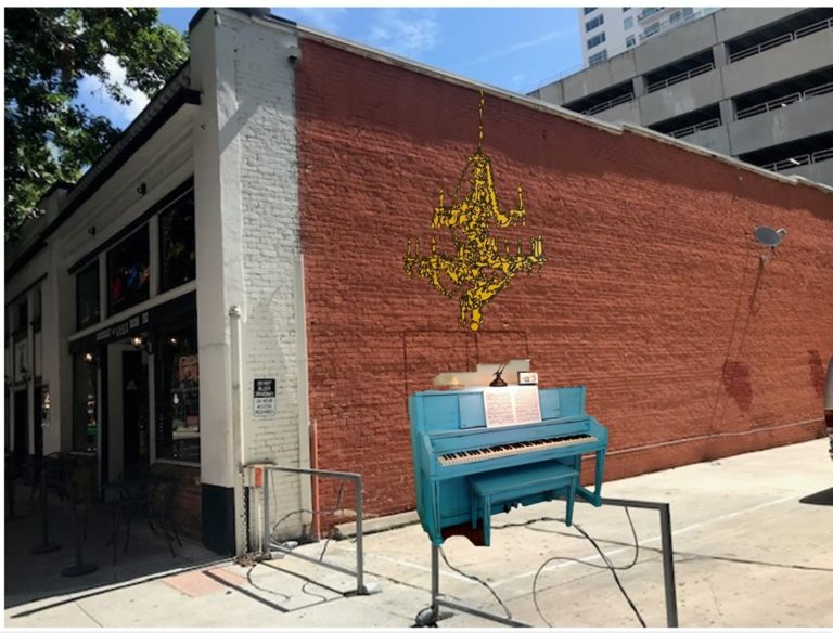 PLAYABLE PIANO AND CHANDELIER MURAL TO ENGAGE PASSERBY