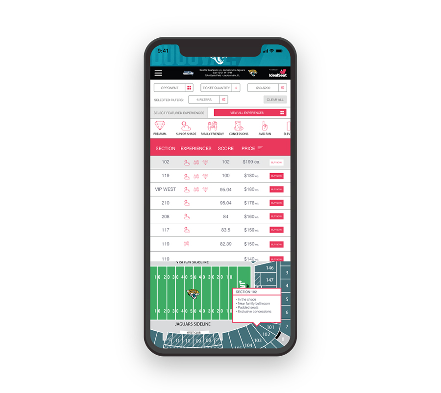 Consumer Platform - IdealSeat's consumer-facing dashboard easily integrates onto a team's ticketing system. Fans can input their game and experience preferences for real-time single-game tickets - allowing teams to grow them into loyal season ticket holders.