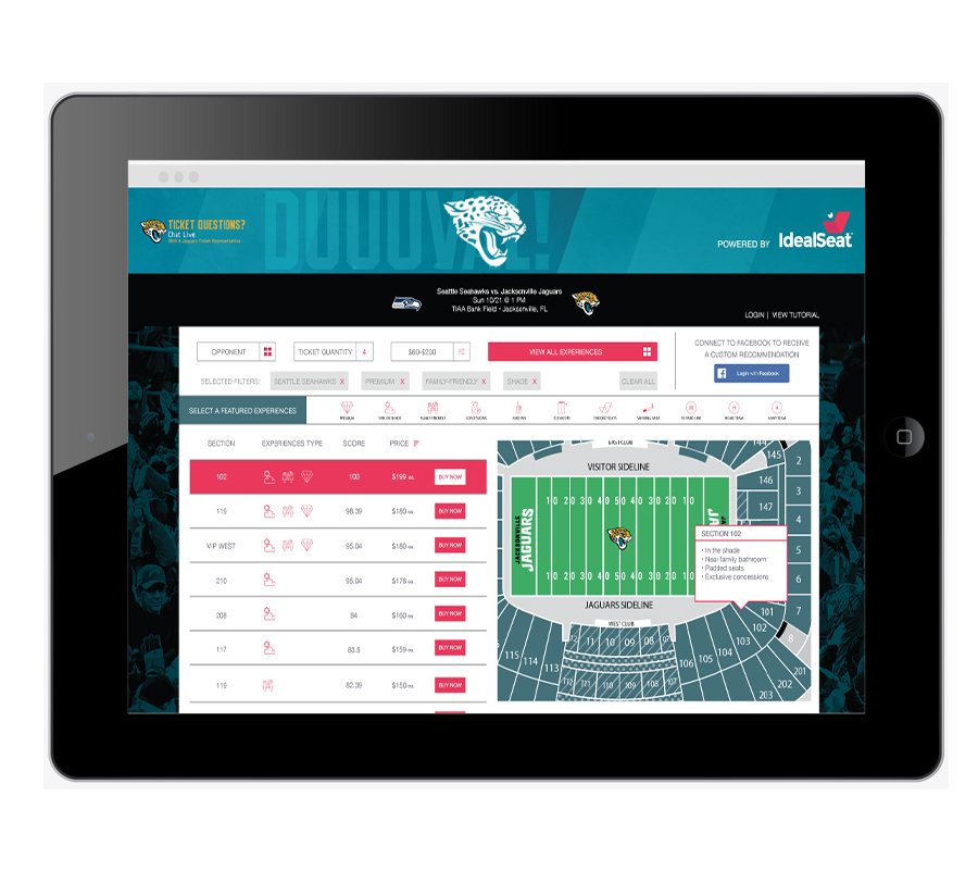 Sales Dashboard - Inside Sales Team Members use the IdealSeat Sales Dashboard to guide fans in discovering and purchasing tickets based on their desired experiences including: Premium Seats, Family-Friendly Environment, Avid Fan, Concessions, Sun or Shade and More.