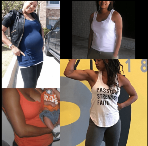 My many stages of transformation — from pregnancy to becoming a trainer.