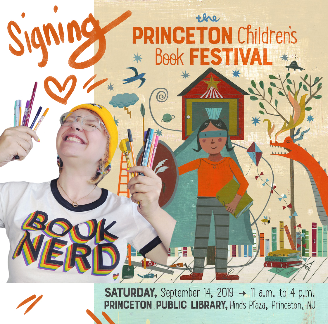 PRINCETON CHILDREN'S BOOK FESTIVAL - Saturday, September 14, 2019Signing and drawing in your books in the Yellow Tent from 11AM-4PM. Come say hi and get your comics personalized!