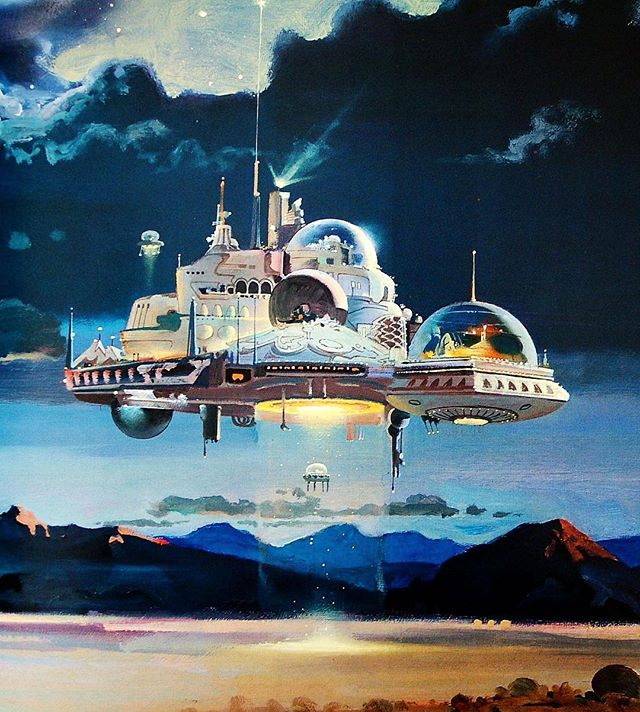 "1977 ""Desert Nocturne"" by Robert McCall, oils.  #retrofuturism"