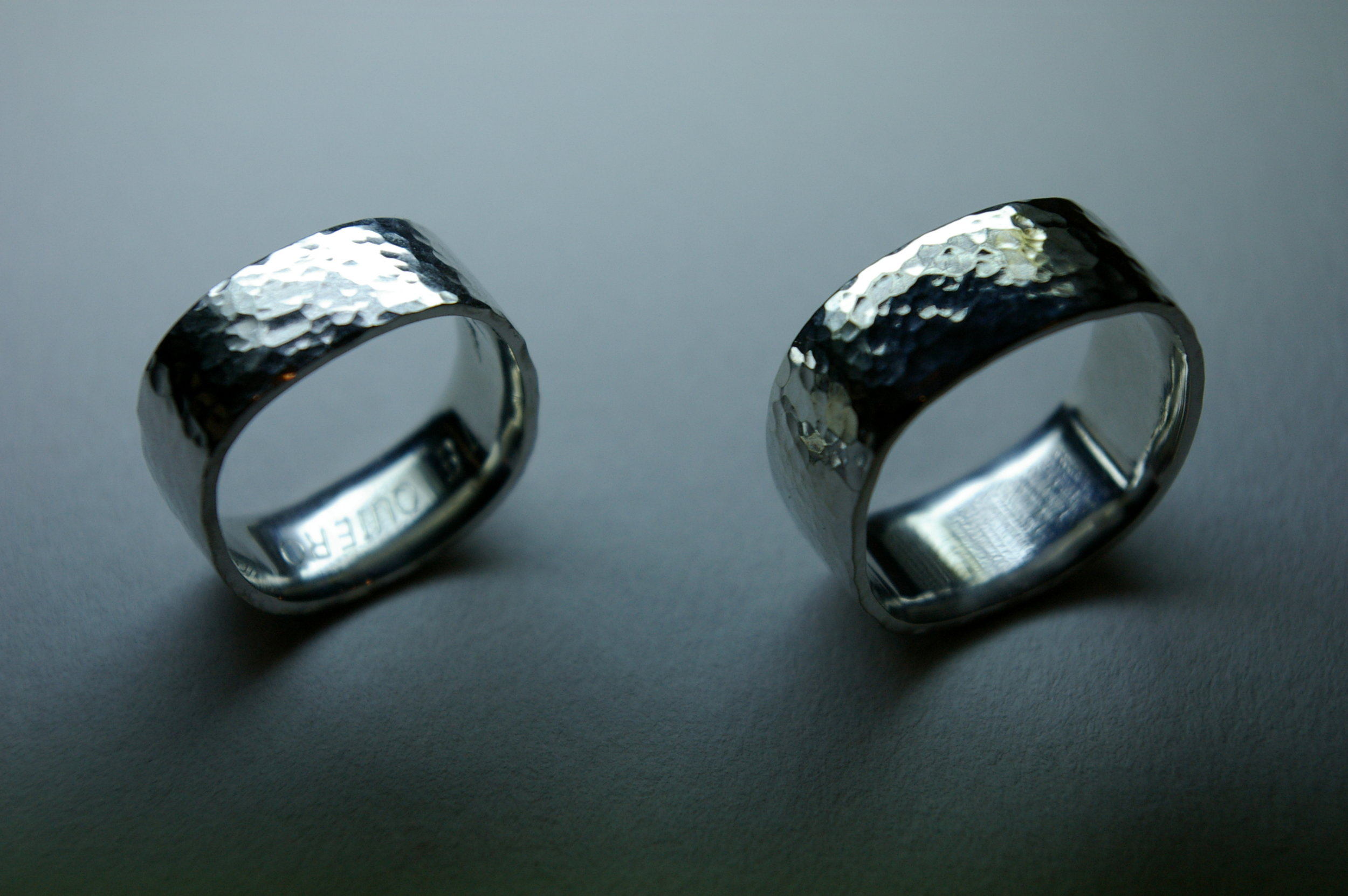 Handmade Platinum Ring Set, Hammered Finish
