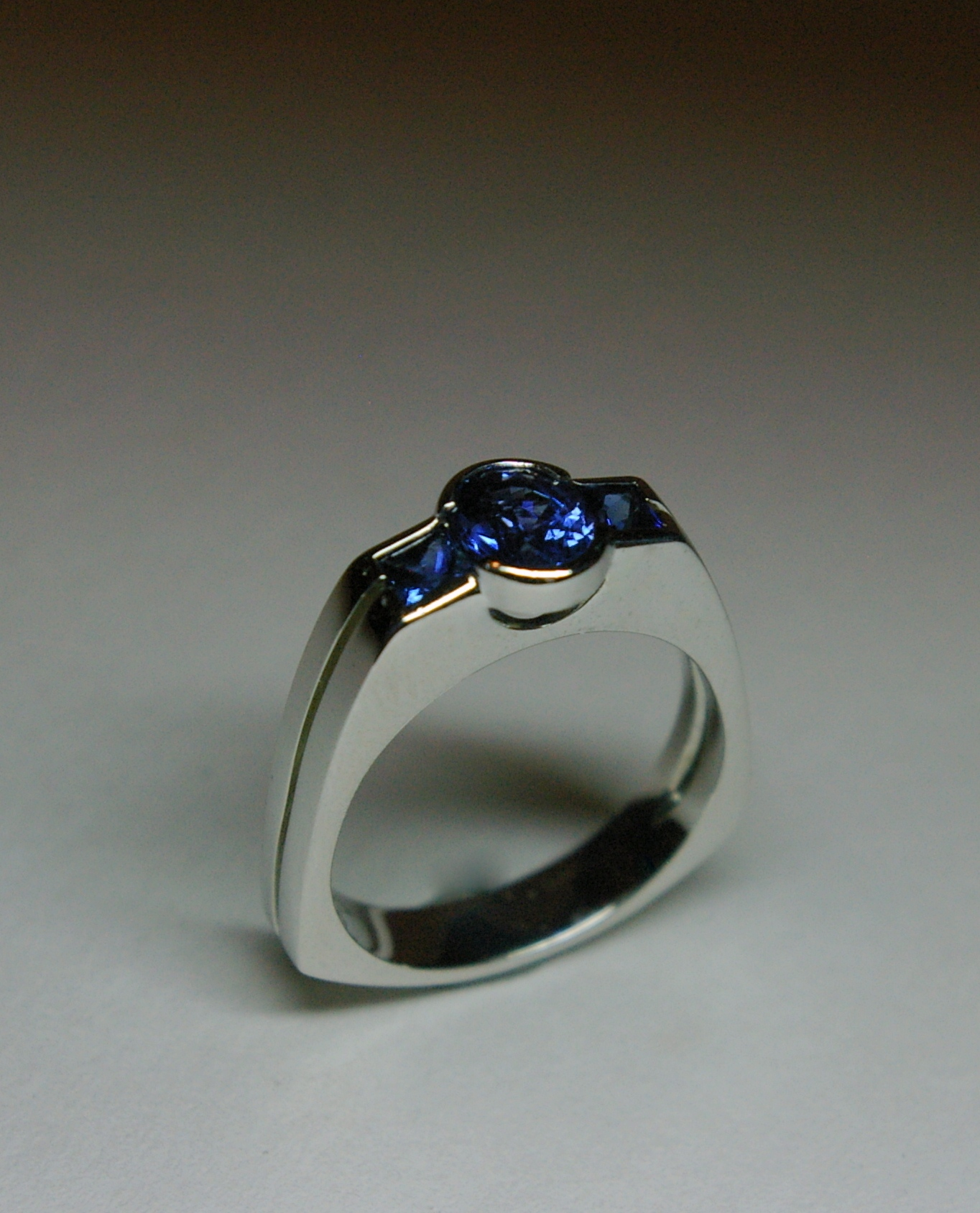 Custom Design Engagement Ring, Platinum set with Ceylon Sapphire