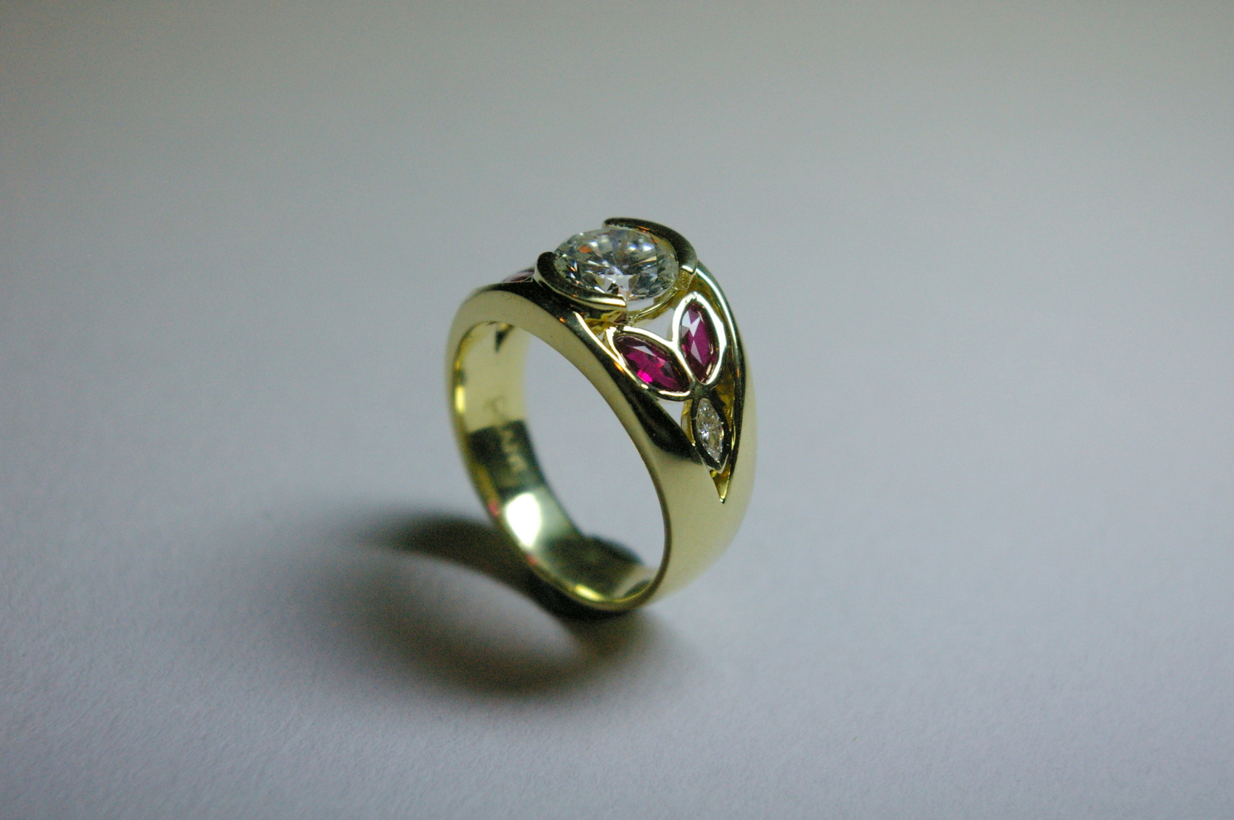 18 Karat Yellow Gold with Marquise cut Diamonds and Rubies