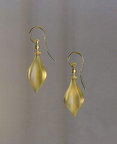 Citrine carved drop earrings in 18 Karat Yellow Gold