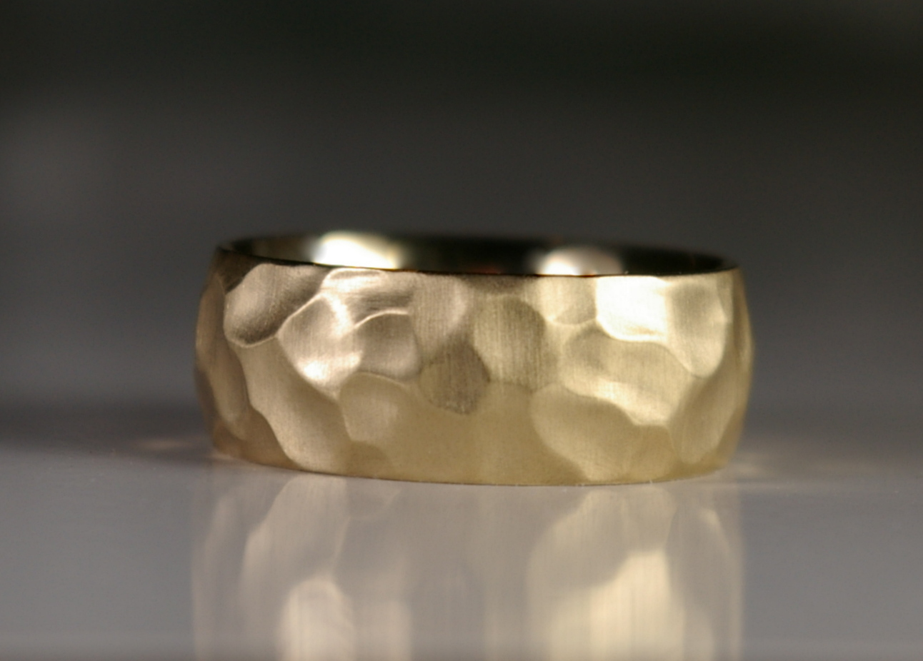 "Handmade 18 Karat Yellow Gold with ""Carved"" finish"