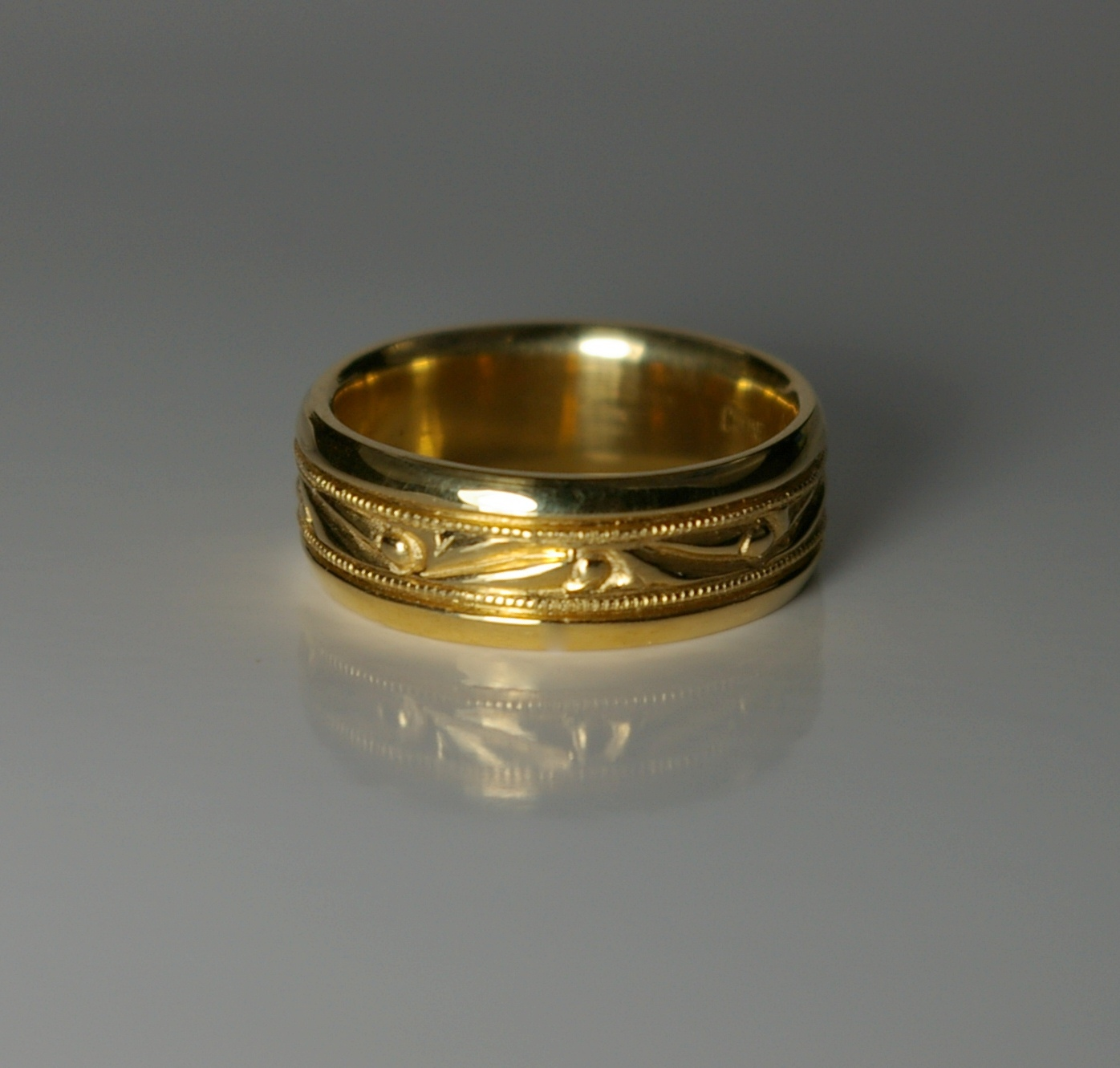 Custom Design 18 Karat Yellow Gold Wedding Band