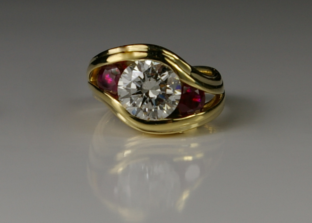 "18 Karat Yellow Gold ""S"" Ring with Rubies and Diamonds"