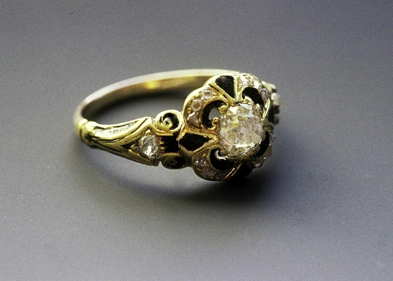 The ring restored with black enamel by Kevin Glenn Crane