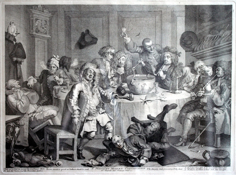 The History of Punch - Punch was in consumed in large quantity from individual cups served communally from a large bowl and dished out with a long handled ladle as seen in the illustration by the English artist Hogarth.