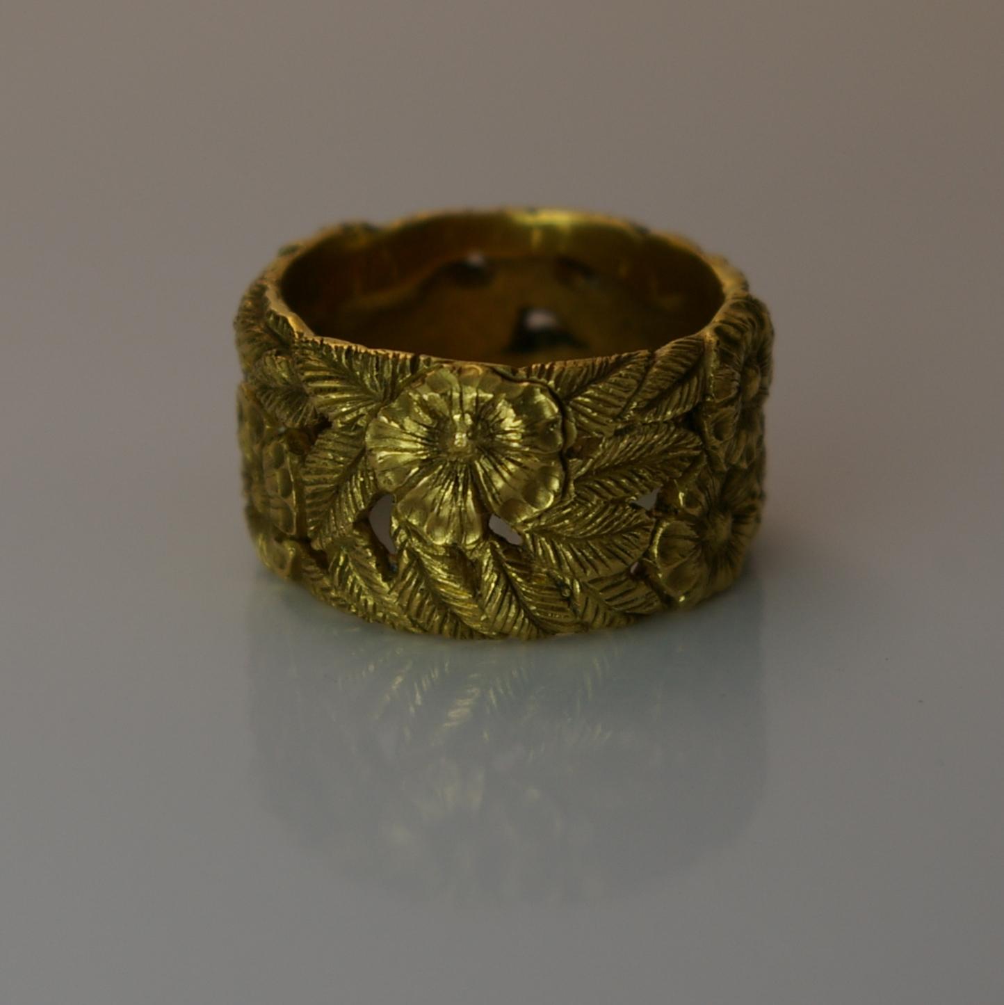 14 Karat Yellow Gold hand carved custom design