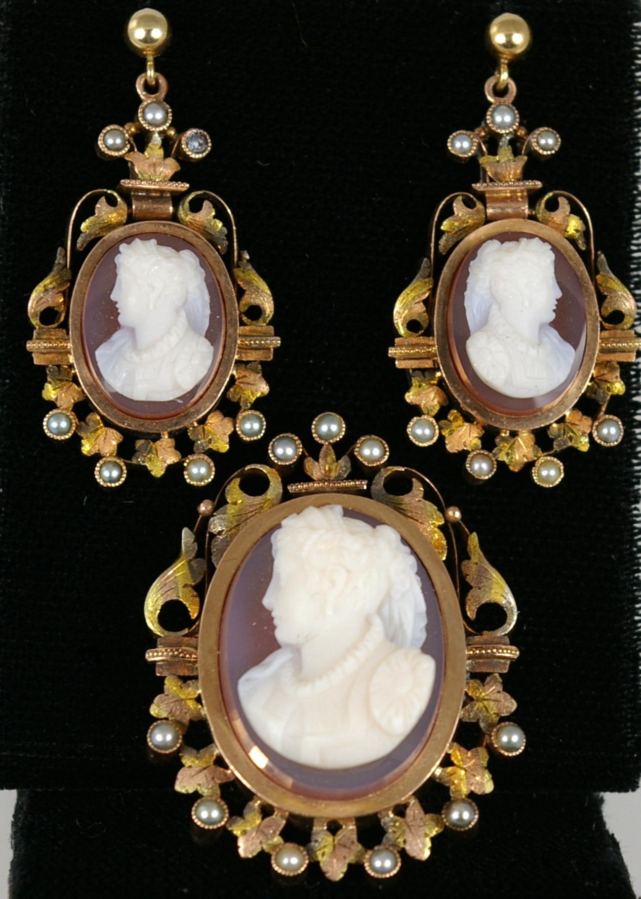 Cameo Pin and Pendant set with 14 Karat Yellow Gold and Pearl mountings
